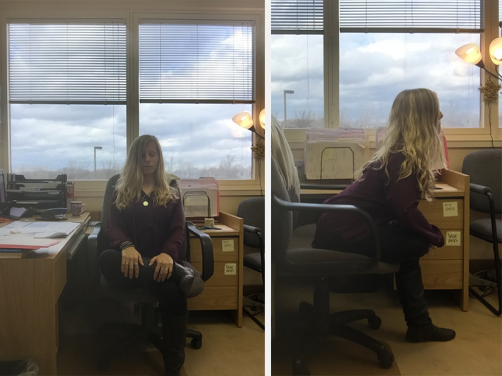 stretching hips in chair - relieve stress at the office