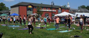Amanda Gorman teaching yoga